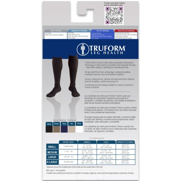 Truform Knee High Socks / Men's Dress Style / 20-30mmHg 1944