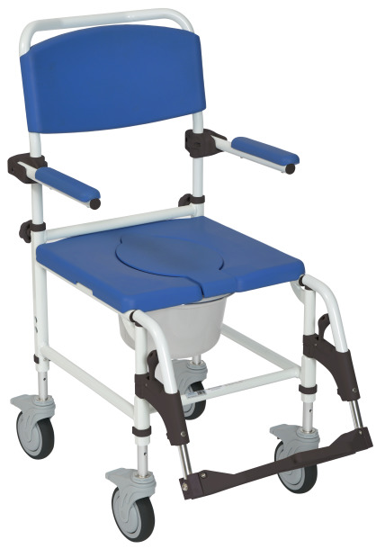 NRS185007 Aluminium Rehab Shower Commode Chair with Four Rear-locking Casters