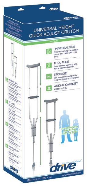 Drive Universal Aluminum Crutch with Accessories