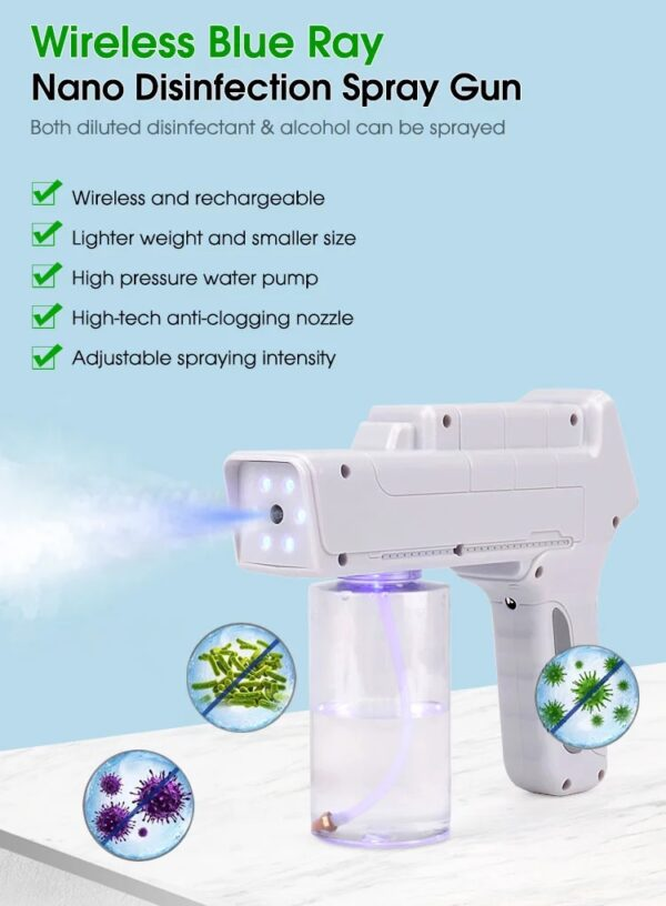 Wireless Disinfectant Blue Ray Mist Spray Gun