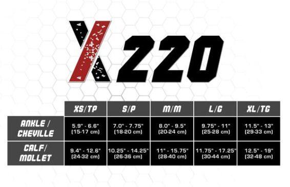 X220 Size Chart