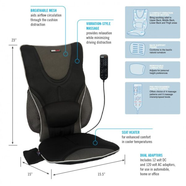 Backrest Support Driver's Seat Cushion with Adjustable Lumbar Pad, Heat and Massage