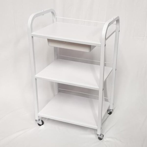 3-Shelves Metal Utility Cart with Drawer