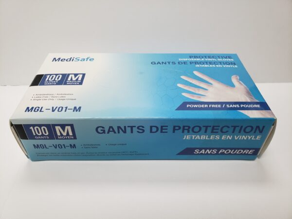 MediSafe Protective Disposable Vinyl Gloves 100 per Box